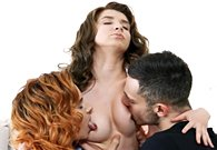 Two beautiful girls Cornelia and Effie Gold lick one cock
